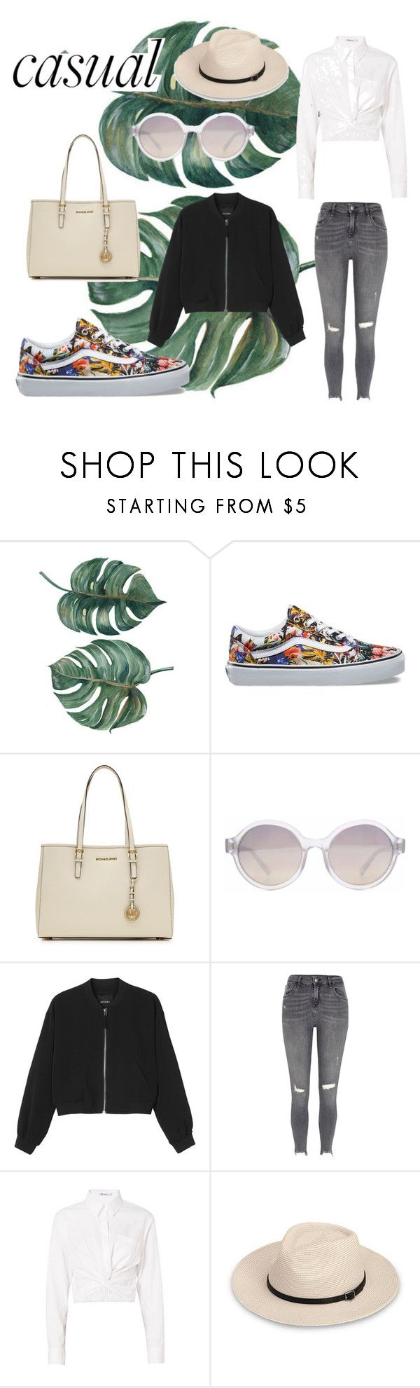 """""""Casually Casual - Contest"""" by jessica-riri ❤ liked on Polyvore featuring Vans, MICHAEL Michael Kors, HOOK LDN, Monki, River Island, T By Alexander Wang, casual and contest"""