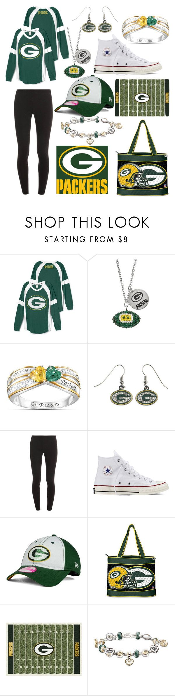 """Green Bay Packers"" by mfgsoccer ❤ liked on Polyvore featuring The Bradford Exchange, Splendid, Converse, New Era and Milliken"