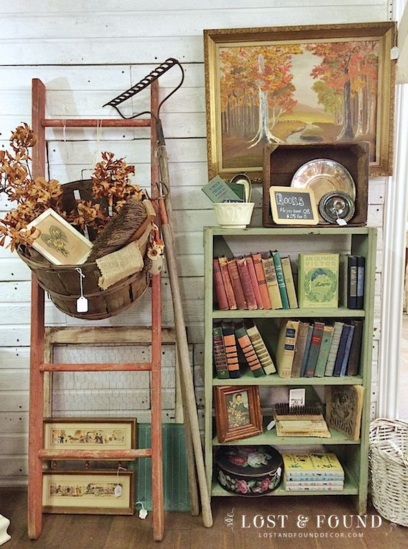Fall at the Booth--Antique Booth Fall display with old ladder