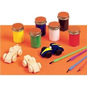 Race Car Party Activity - wooden cars from Oriental Trading and washable paints. A craft activity and party favor in one!  #racecar, #car party, #party craft
