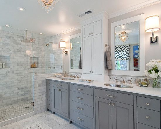 Love the grey and white contrast with the custom cabinets and the tiling in the shower to pull in the cabinets