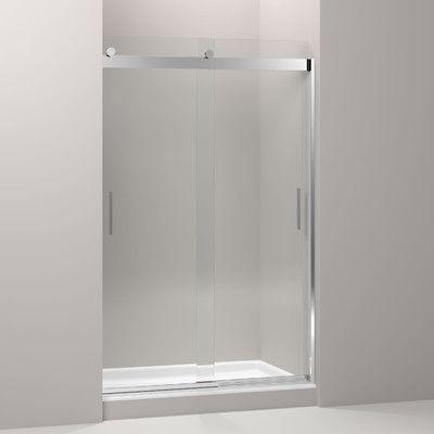 "Kohler Levity 47.63"" x 74"" Double Sliding Shower Door with Blade Handles Finish: Bright Polished Silver"