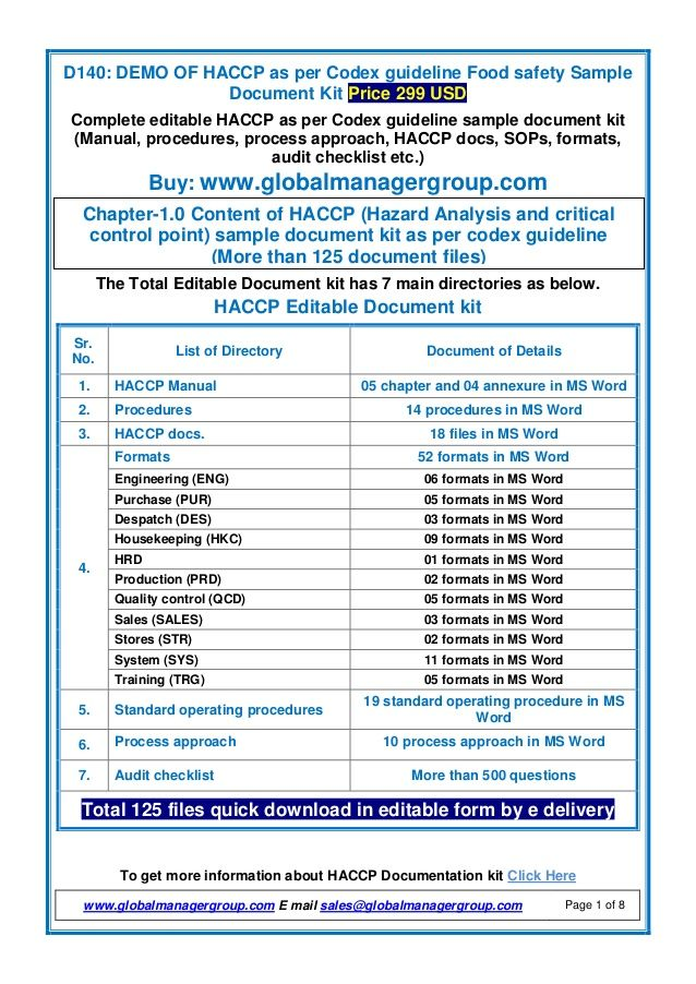 Hacccp Document Manual Procedure Hazard Analysis Preventive