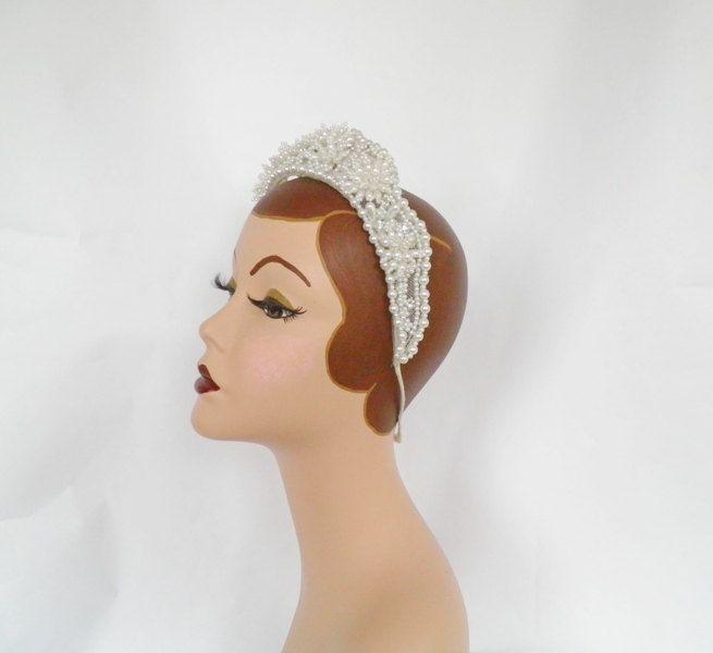 Vintage wedding crown, 1950s beaded white bridal hat by TheVintageHatShop on Etsy