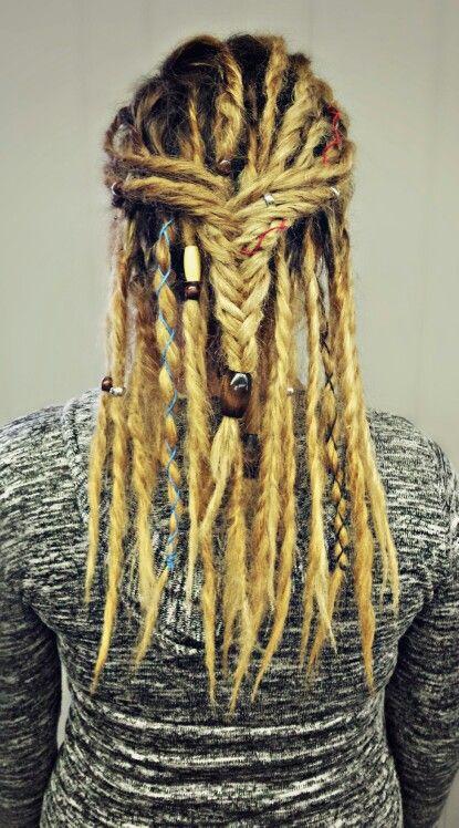 Blonde dreads. Hemp rope + beads = love! Kirby's Hairstyles!