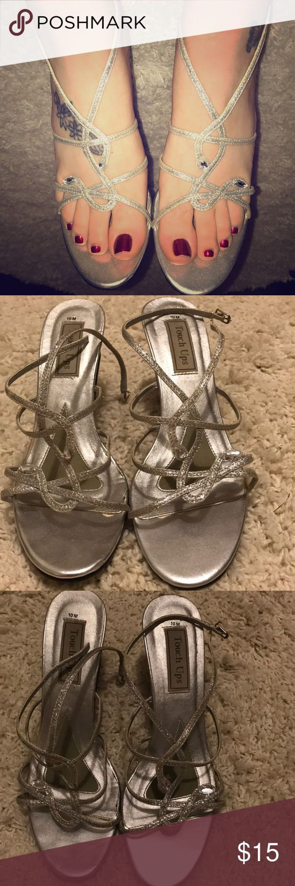 """Silver heels 🌺 prom shoes 🌺 bridesmaid heels Good used condition   Some wear noted Silver color with clear rhinestones  Size 10  Approximately 3.5"""" rise  Great for prom, bridesmaids or other formal events Touch Ups Shoes Heels"""