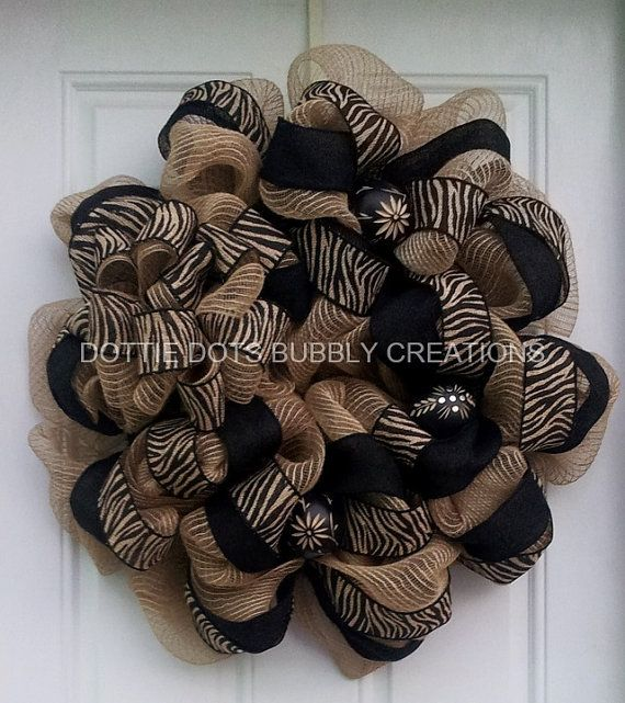 Burlap Zebra PrintSafari Jungle Theme Mesh Wreath by dottiedot05, $110.00