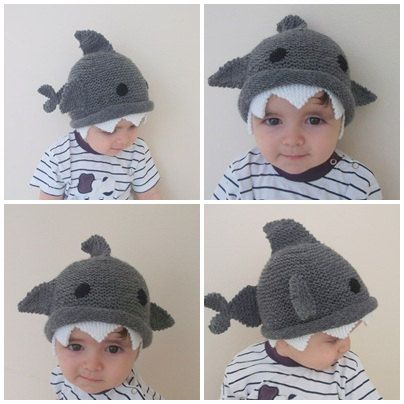 02b79d3cf0a Shark hat -Knitting Baby Hat - for Baby or Toddler-Size 6-12 months-Dark  gray baby hat-boy hallowe