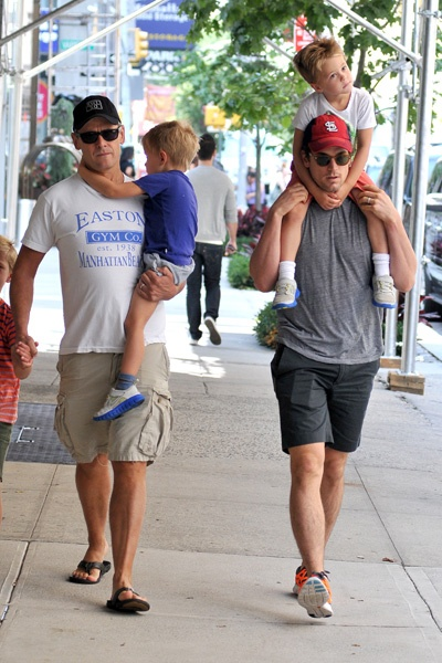 Matt Bomer and Simon Halls take their sons out in NYC. #surrogacy #samesex #parenting