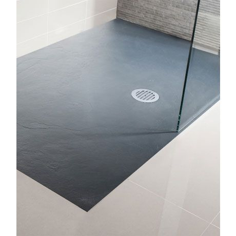 simpsons grey textured slate effect shower tray with waste