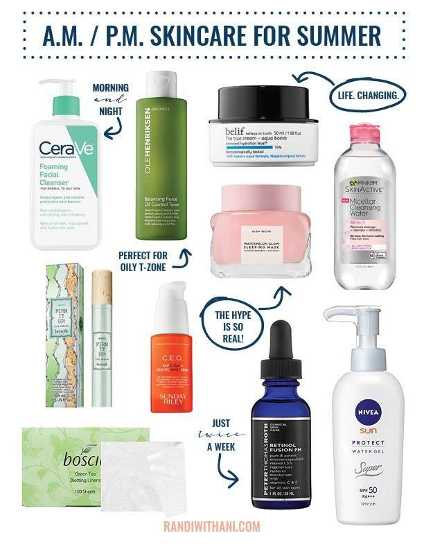 Morning Evening Summer Skincare Regimen With Micellar Water Cerave Belif Glow Recipe Boscia Sunday Rile Summer Skincare Routine Summer Skincare Skin Care