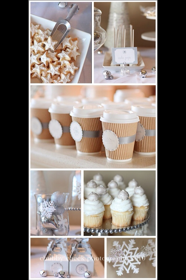 lovely white christmas party // cute coffee cups