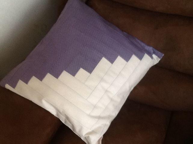 Lilac and cream log cabin cushion