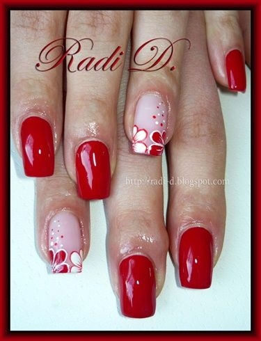 Red & white flowers by RadiD - Nail Art Gallery nailartgallery.nailsmag.com by Nails Magazine www.nailsmag.com #nailart
