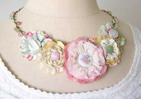 Statement Necklace Fabric Flower Necklace Bride di rosyposydesigns