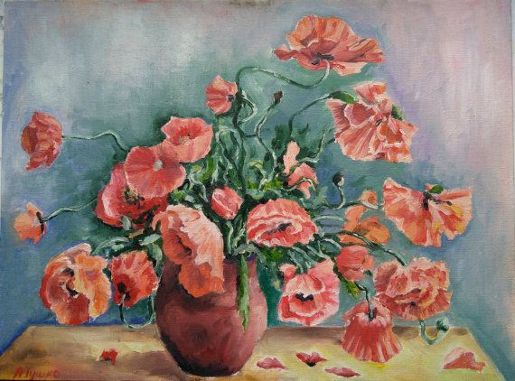 Poppies Red bouquet Red flowers  Bouquet of by PaintingByAHeart