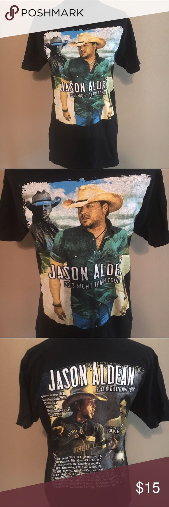 Jason Aldean night train 2013 tour shirt band tee Jason Aldean tour shirt. No size tag. Listing as a large. Pit to pit is 19 and shoulder to hem is 29. My mannequin is typically a small and it is loose on her. Band tee Tops Tees - Short Sleeve