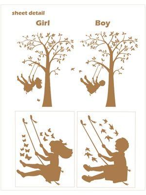 Swinging Child Tree wall decal sticker