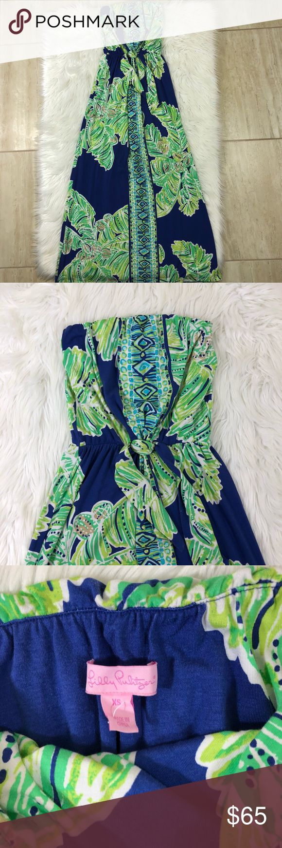 """Lilly Pulitzer Iris Blue Latitude Rosalina Maxi Lilly Pulitzer Iris Blue Latitude Rosalina Maxi Dress Size XS Faux tie at waistline  In excellent condition, no stains or rips. Measurement: Length 51"""" Smoke and Pet free house Lilly Pulitzer Dresses Maxi"""