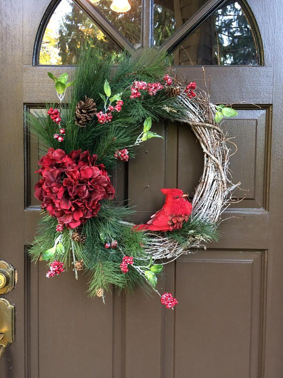 Reduced Winter Front Door Wreath Grapevine Christmas Decor Red