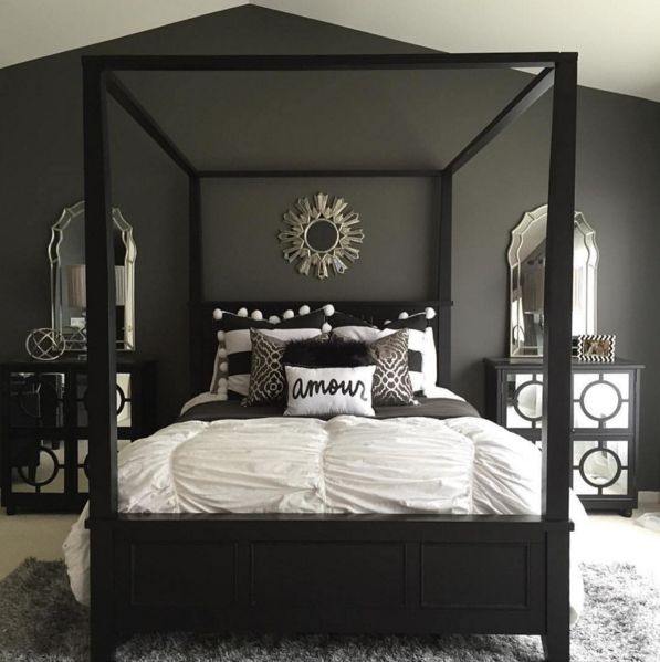 stunning bold black white and grey bedroom design with simple accents haneenmatt - Bedroom Ideas Gray