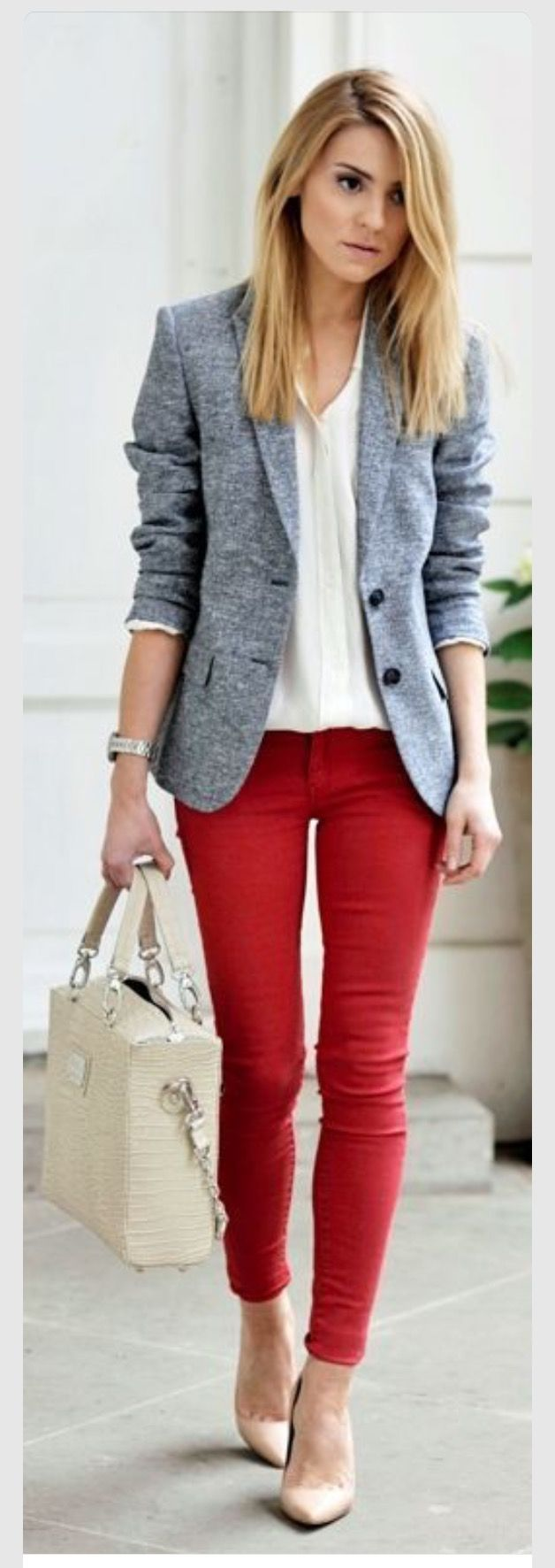 Top ideas for red pants - I Love This Casual Looking Blazer Red Skinnies Skinny Pant Pants Outfit Dress Ideas