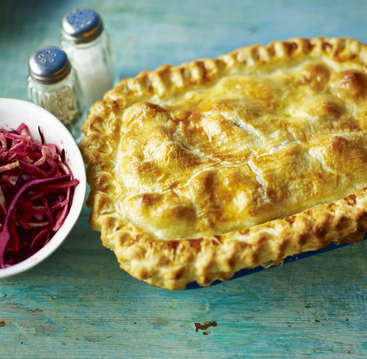 It's hard to resist a warming chicken and ham pie with a side of crunchy coleslaw.