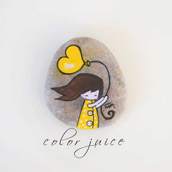 Cheer up, Girl in Yellow, Painted Stone
