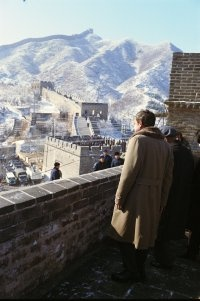 Richard Nixon on The Great Wall of China.