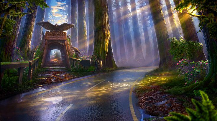 Enigmatis: The Mists of Ravenwood - Sunny Highway www.artifexmundi.com/page/enigmatis2 #gate #raven #bird #redwood #park #entrance #game #adventure https://www.facebook.com/ArtifexMundi.Enigmatis