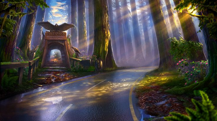 Enigmatis: The Mists of Ravenwood - Sunny Highway www.artifexmundi.com/page/enigmatis2 #gate #raven #bird #redwood #park #entrance #game #adventure https://www.facebook.com/ArtifexMundi.Enigmatis