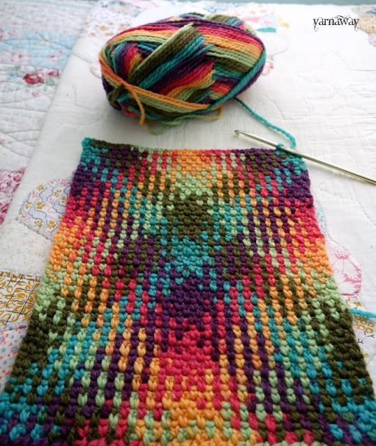 crochet color pooling with yarnaway