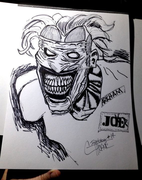 Original Drawing New 52 JOKER Batman villain INKtober by ...