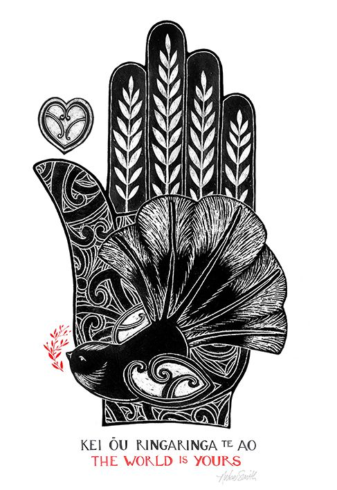The World is Yours - a little fantail (Piwakawaka) alights. By Nelson artist, Amber Smith. www.imagevault.co.nz