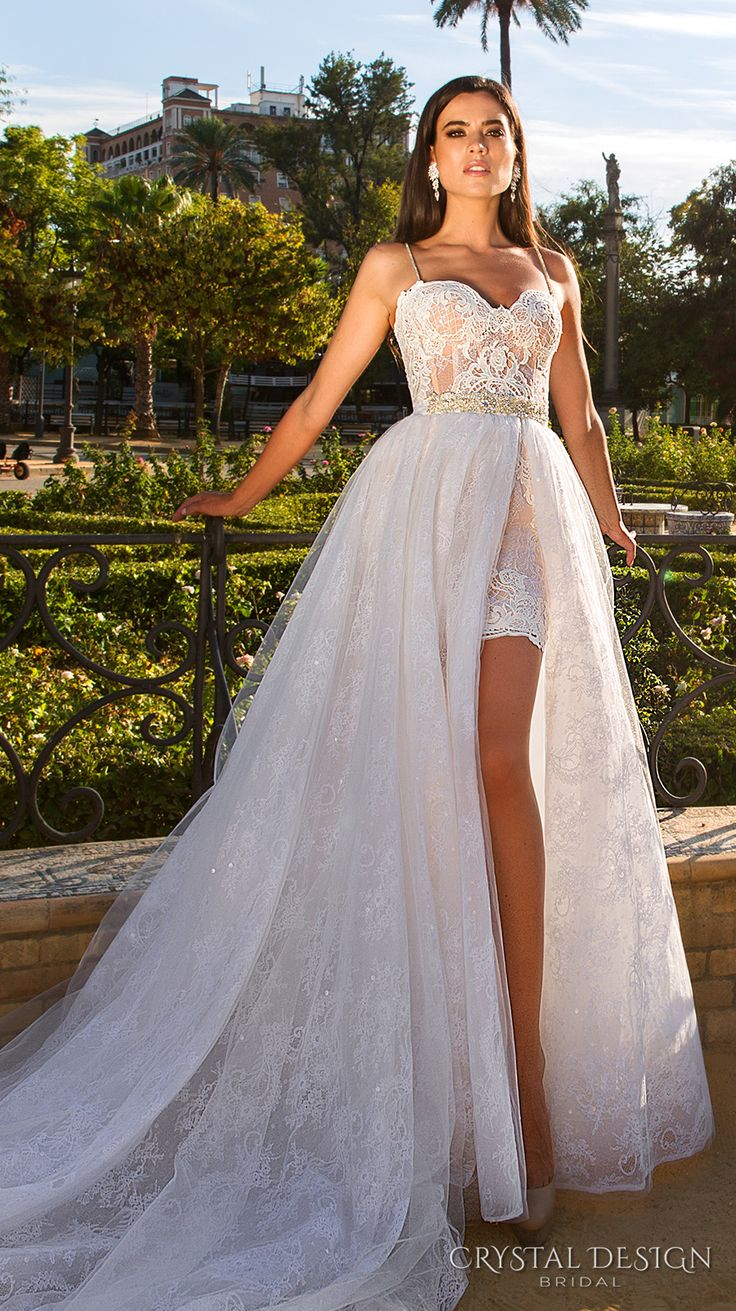 Crystal Design 2017 bridal spagetti strap sweetheart neckline full embellishment lace mini skirt above knee short wedding dress a line overskirt long train (gorgina) mv #bridal #wedding #weddingdress