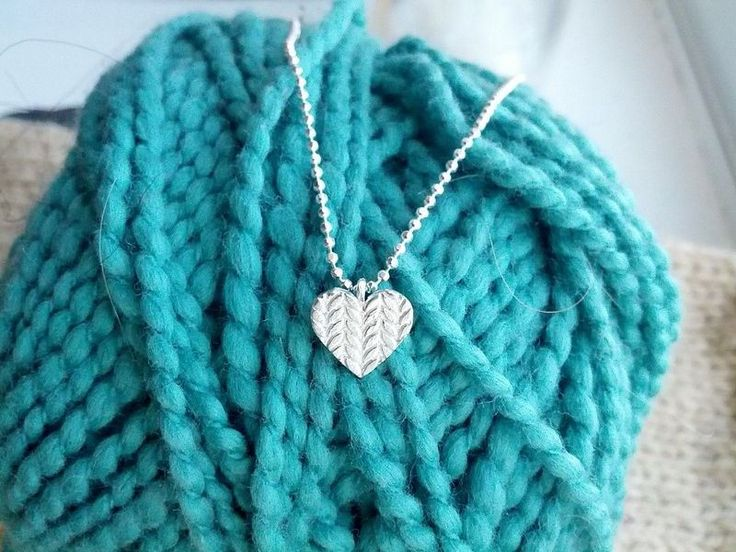Large Knitted Heart Necklace in Sterling Silver by Slashpile Designs