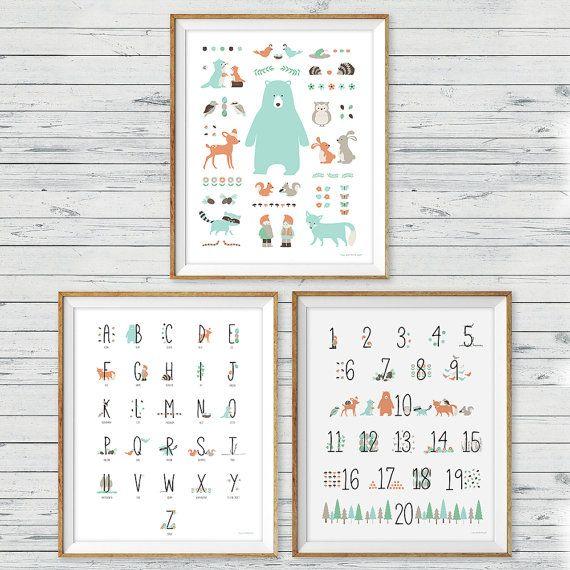 Woodland+Animal+Wall+Art+set+of+3+Woodland+Alphabet+Print