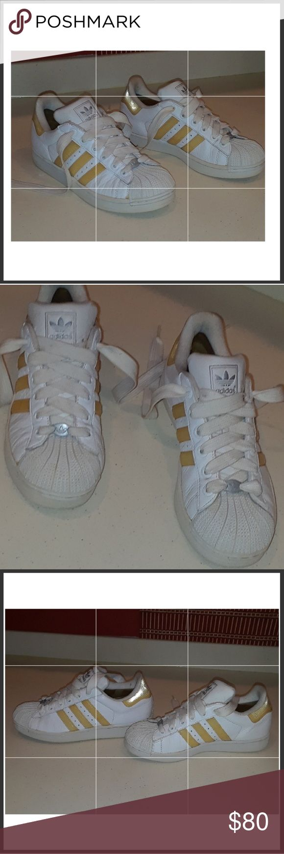 Vintage ADIDAS sneakers Vintage ADIDAS White leather sneakers with reflective trim and all rubber at the toe. adidas Shoes Sneakers
