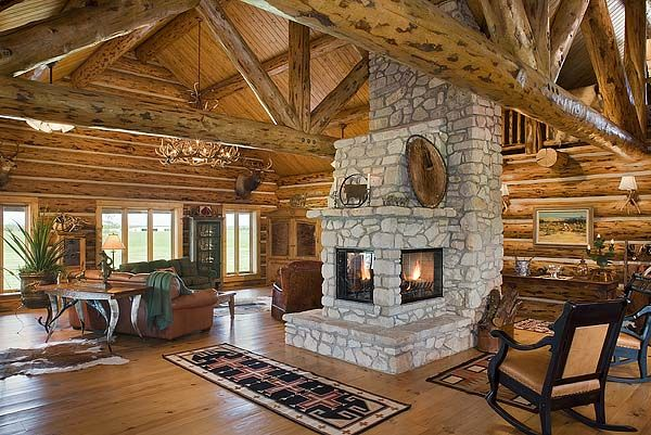 3 sided pretty cool fireplace ideas pinterest for Log home fireplaces