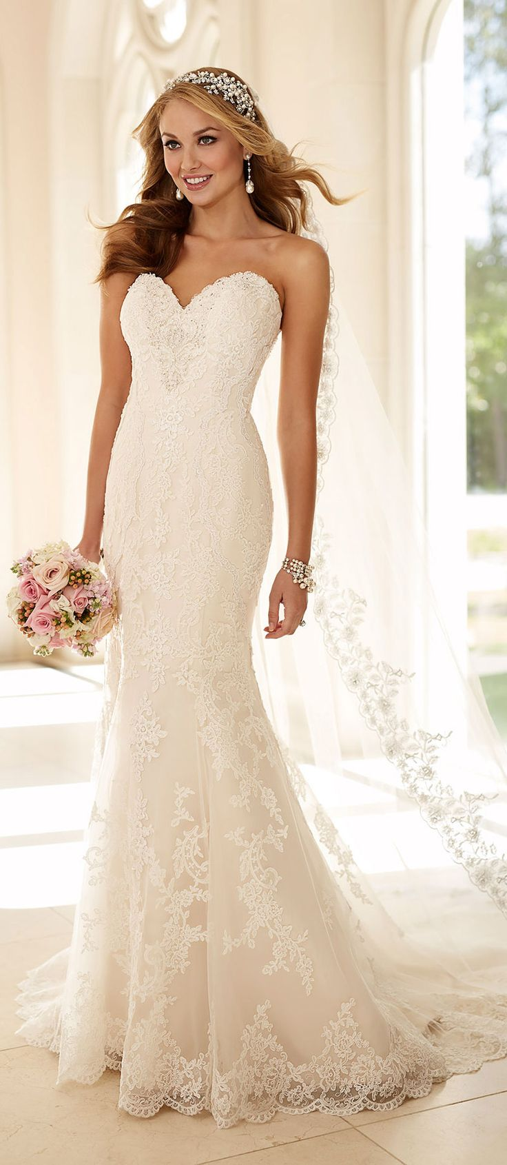 Stella York strapless sweetheart lace wedding dresses