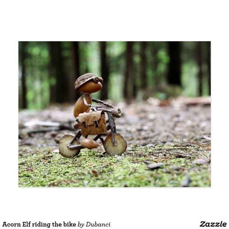 Acorn Elf riding the bike Postcard