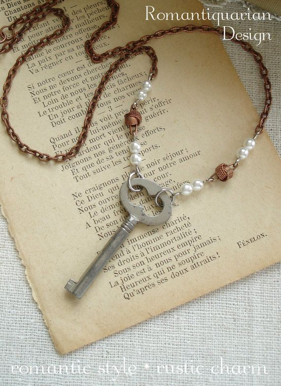 AMOUR - Antique Skeleton Key Necklace. Vintage Key Jewelry. Silver and Copper Love Knot Necklace with Pearls. Rustic Repurposed Jewelry.