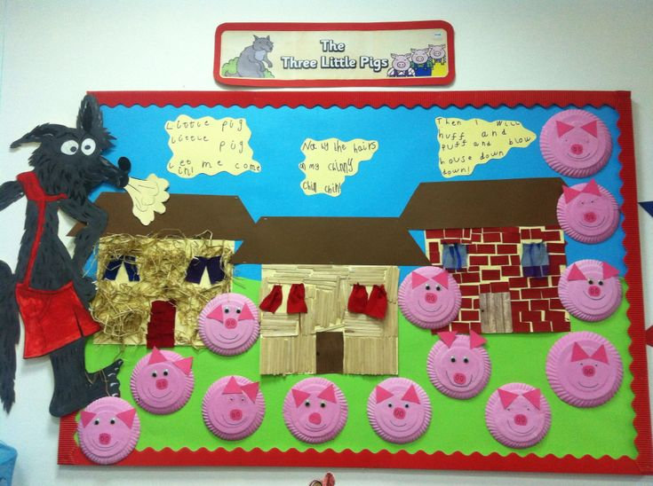 Three Little Pigs traditional tales display for Year 1 classroom