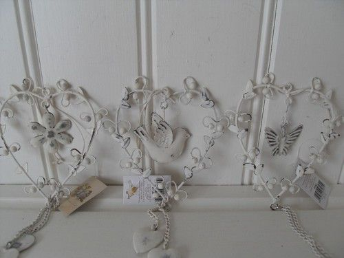CREAM METAL BIRD BUTTERFLY FLOWER HANGING LOVE HEART CHIC N SHABBY