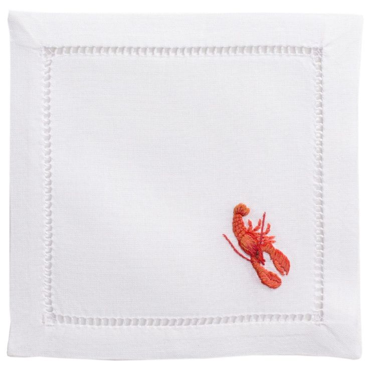 Red Lobster Cocktail Napkin Hand-embroidered cocktail napkins on 100% cotton, finished and hemstitched by hand.  | | Lip Service Napkins | | cheers to story telling, laugh-sharing & memory-making - Shop Retreat Napkins  Dinner Party | Wedding | Event | Vacation | Relax | Host | Planning | Table Setting | Entertaining