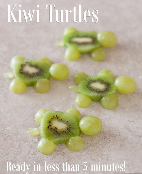 These cute kiwi turtles are an easy kid snack ready in just five minutes. EatingRichly.com
