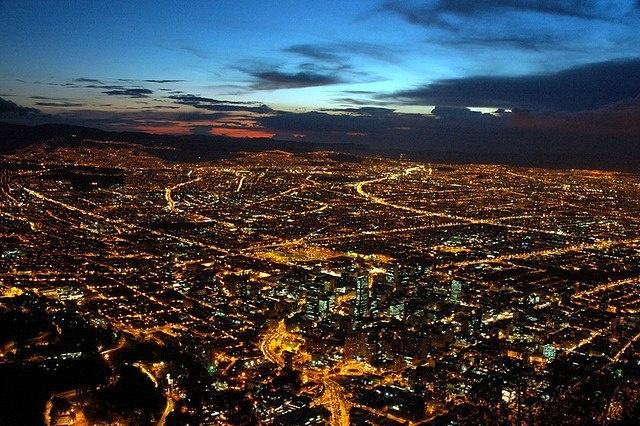 Beautiful view of the huge city of Bogotá, Colombia