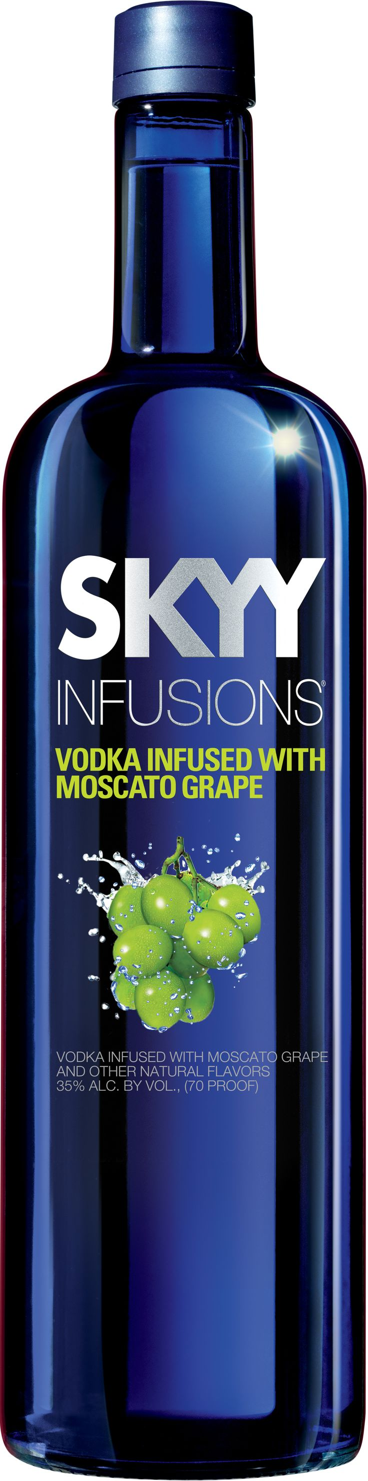 So this isn't exactly a moscato but it's infused with moscato grapes, which we can dig. Skyy is bringing their vodka to the wine table with their latest infusion of moscato grape. Taste the grape flavor as you sip it with your favorite mixer.  -Cosmopolitan.com