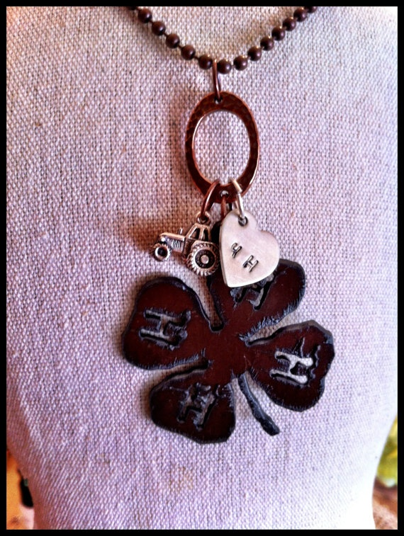 hand stamped rustic recycled metal 4h clover by