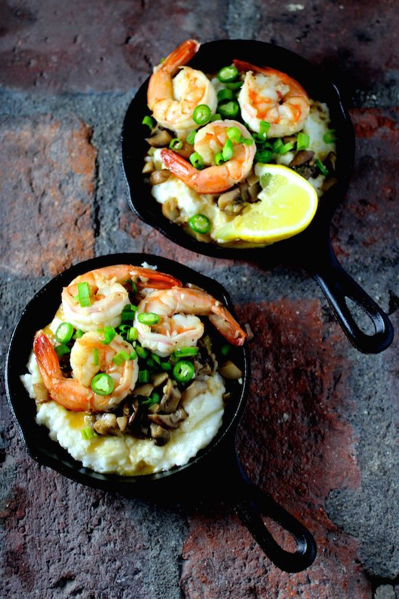 Shrimp and Grits in Mini Cast Iron Skillets @FoodBlogs